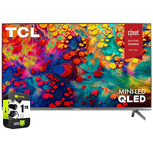 TCL 65R635 65 inch 6-Series 4K QLED Dolby Vision HDR Roku Smart TV Bundle with 1 Year Extended Protection Plan