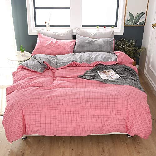 Qucover Bettwäsche 220x240 cm Biber Bettbezug aus Baumwolle mit Reißverschluss Grau & Rosa Kariert Muster mit 2 Kissenbezüge 48x74cm flauschig