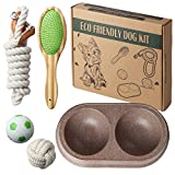 Eco Kit Eco Friendly Dog Puppy Pet Starter Set, Includes Handcrafted Bamboo Brush, Braided Cotton Rope Leash, Plant Fiber Double Dog Bowl, Cotton Rope Ball, Natural Rubber Ball   All Natural Materials