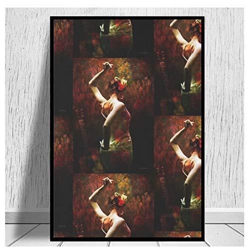 DNJKSA Flamenco - Vibrante Bailarina española Impresión en Lienzo sobre Lienzo Póster Artístico Cuadros paraSala de Estar Decoración para el hogar Regalo único-20x30 IN Sin Marco