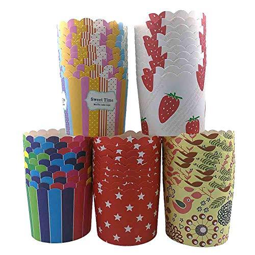 CAN_Deal 100 Stück Muffin Backformen aus stabilem Papier, groß Ø 6 cm, Muffinförmchen/Cupcake Backformen