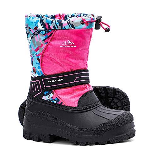 ALEADER Kids Snow Boots Girls, Isulated Waterproof Winter Warm Boots with Fur Pink Print 5 M US Big Kid