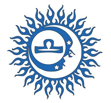 Vinyl-Aufkleber, Motiv Claremore Waage, Tierkreiszeichen, 14 x 14 cm, blau
