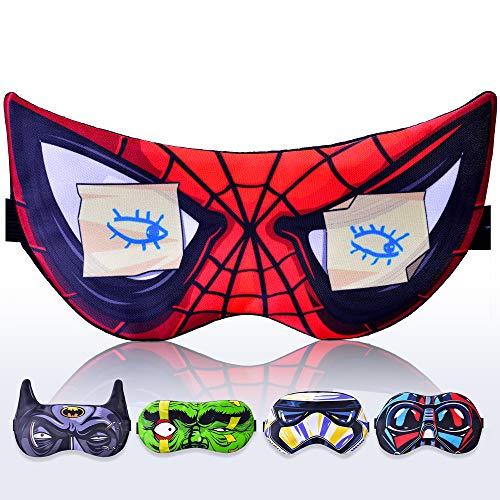 Sleep Mask Spiderman Superheroes for Children Kids Boy Man - Sleeping mask 100% Soft Cotton - Night Mask for Sleeping Cover Blindfold (Spiderman Red, Plastic Pack)