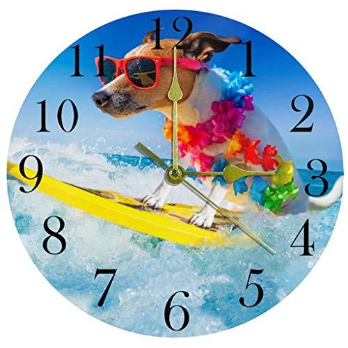 NL Reloj de Pared Perro Surf en el mar Reloj de Pared de mar silencioso Sin ticipo Acrílico Acrílico Decorativo Redondo Reloj para la Escuela Sala de Estar Dormitorio Decoración del hogar