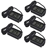 UMLIFE 5 PCS Mini Electronic Thermometer Digital Temperature Meters Gauge LCD Display ℃ for Car Greenhouse Indicator Indoor Room with 1M Waterproof NTC Probe