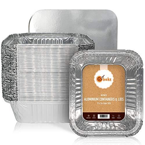 ebake Kleine Aluschalen mit Deckel, Alu Grillschalen für Fast Food Läden, Zubereitung, Mahlzeitpläne Die Grillschalen Aluminium sind ideal für Backen, Speicherung und Gefrierschrank - 50er-Set