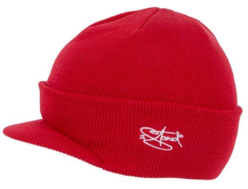 2Stoned Mütze mit Schirm Visor Beanie Cap Deluxe, One-Size Damen, Rot