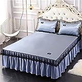 lxylllzs Cooling Topper Bed <span class='highlight'>Mattress</span> Rattan,Summer ice silk mat three-piece bed skirt-200X220cm_7,Summer Rattan Mat <span class='highlight'>Bamboo</span> <span class='highlight'>Mattress</span>