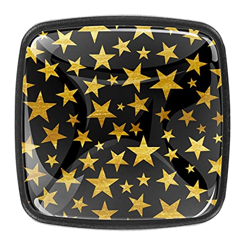 Fondo negro con patrón de estrellas doradas, tiradores de cristal de 1.18 pulgadas, para cocina, armario, armario, 4 unidades