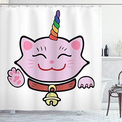 ABAKUHAUS Einhorn-Katze Duschvorhang, Rosa Maneki Neko, Waserdichter Stoff mit 12 Haken Set Dekorativer Farbfest Bakterie Resistet, 175 x 200 cm, Multicolor