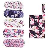 EXCEART 5 Pzs Compresas Sanitarias Toallas Sanitarias Reutilizables Lavables Almohadillas Menstruales de Carbón de Bambú Almohadillas Panty Forros para Señora Chica Mujeres