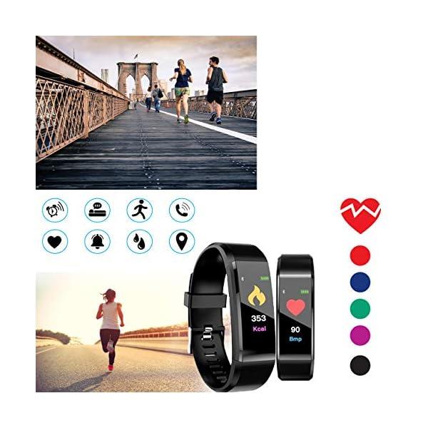 MuscleLocker Fitness Tracker, Monitor de actividad cardíaca, impermeable, pulsera inteligente con contador de pasos… 6