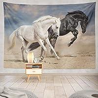 Jbralid 砂漠の黒と白のラン馬 おしゃれで快適です 壁掛け 装飾布 インテリア ウォールアート 多機能 室内 窓や壁の飾り パーティー用 お店 オリジナルプレゼント