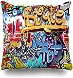 GFGKKGJFF0812 Grafiti Graffity Wall Street Grafitti Graphiti Abstract Graffiti Graffitti Urban Rap Graphitti Fundas de cojín 18 x 18 para Sofás Asientos Throw Fundas de Almohada para niñas