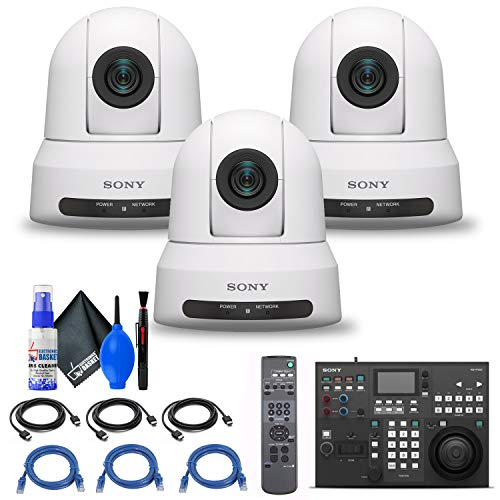 Sony RM-IP500/1 Professional Remote Controller + 3 x Sony SRG-X120 1080p PTZ Camera with HDMI, IP & 3G-SDI Output (SRGX120/W) + 3 x Ethernet Cable + Cleaning Set + 3 x HDMI Cable - Bundle