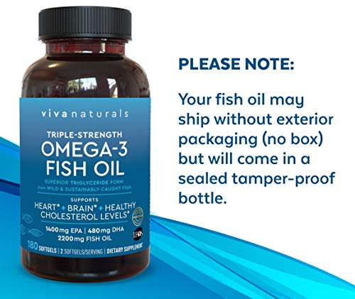 Omega 3 Fish Oil - Omega 3 Supplement with Essential Fatty Acid Combination of EPA & DHA, Triple Strength Wild Fish Oil softgels with No Fish Burps, 180 capsules 7