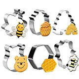 6 Piece Bee Cookie Cutter Set , Honeycomb Hexagon Honey Jar, Winnie the Pooh Molds Cutters for Bee Party Making Muffins, Biscuits, Sandwiches Fondant Decorations