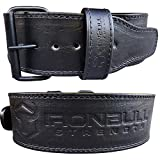 Premium Genuine Leather Powerlifting Belt - 10mm Single Prong - 4-inch Wide - Advanced Weight Lifting Belt – Lower Back Support for Weightlifting and Heavy Power Workout (Large, Black)