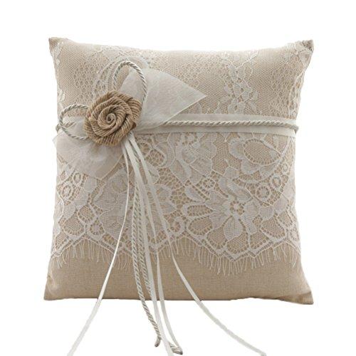 Vivivalue Wedding Bridal Large Burlap Ring Pillow Ring Bearer Pillow Cushion Embroidered Brown