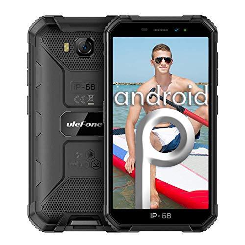 Smartphones ohne Vertrag, Ulefone Armor X6 Günstig Outdoor Handy, Wasserdicht IP68/IP69K, Quad-Core, 2+16GB ROM, 8MP Hauptkamera 5MP Vordere Kamera, Android 9.0, 5.0 Zoll, 4000mAh - Schwarz