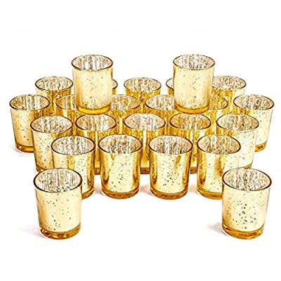 """MICROSUN Gold Votive Candle Holder Bulk Set Of 24 - Speckled Mercury Glass Tealight Candle Holders Perfect Centerpieces for Home Table & Wedding Prom, - 2.67"""" (H)"""