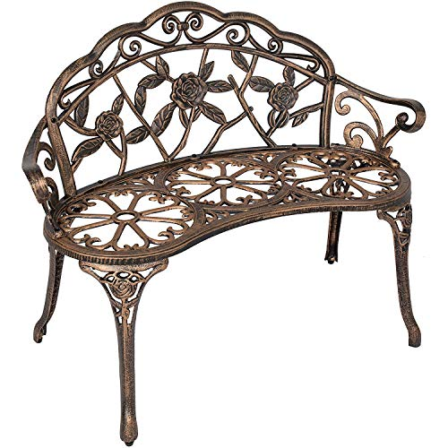 SSLine 38.5' Garden Patio Bench, Cast Aluminium Frame Antique Finish Rose Metal Outdoor Bench, Accented Lawn Front Porch Path Yard Decor Deck Furniture