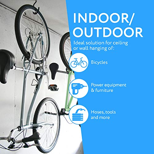 4-Pack Bike Hook / Hanger - Heavy-Duty, Fits All Bike Types, Wide Opening, Easy On/Off - Perfect Hooks / Hangers for Garage Ceiling and Wall Bicycle Storage and Hanging - by Impresa Products