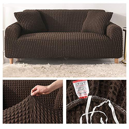 Funda elástica para sofá con Asientos Dobles reposabrazos en Forma de Funda de Sofá/Funda de sofá Antideslizante Funda de sofá de Alta Elasticidad fundas decorativas para sofás-Marrón 1 Sellador