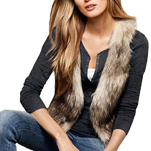 Lantomall Damen Pelz Weste Frauen Lederweste Fellweste Faux Fur Vest Gilet Waistcoat Braun