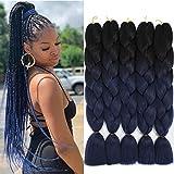 Ombre Kanekalon Braiding Hair Extension Synthetic Jumbo Braids Hair Colored Braiding Hair braid in hair (24Inch,100g/PCS,5Pcs/Lot,Black-Dark Blue)