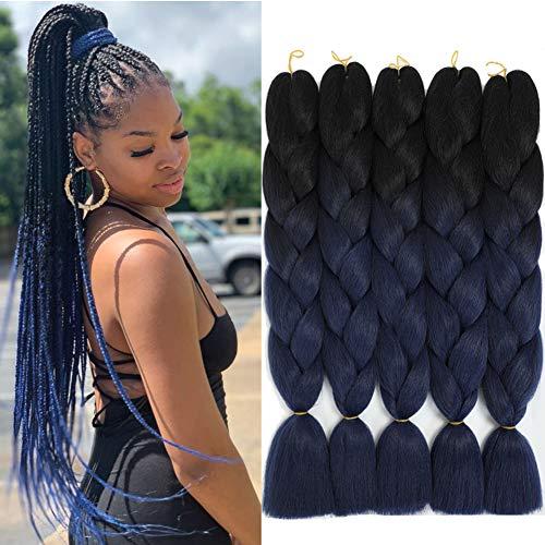 Ombre Braiding Hair Extensions Hair for Braiding Blue Braiding Hair Synthetic Jumbo Braids Hair Colored Braiding Hair Braid in Hair (24Inch,100g/PCS,5Pcs/Lot,Black-Dark Blue)
