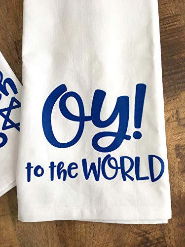 Oy to the World Kitchen Towel Funny Hanukkah Gift for the Holidays