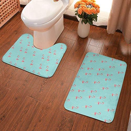 Badematten-Set, 2-teilig, rutschfest, WC-Vorleger und Badematte, Flamingo, 2 Stück