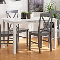 Walker Edison 4-Person Modern Farmhouse Wood Small Dining Table Set