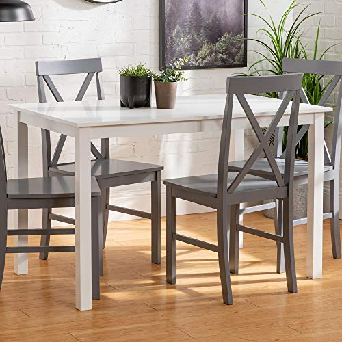 Walker Edison 4 Person Modern Farmhouse Wood Small Dining TableDining Room Kitchen Table Set Dining 4 Chairs Set White/Grey48 Inch