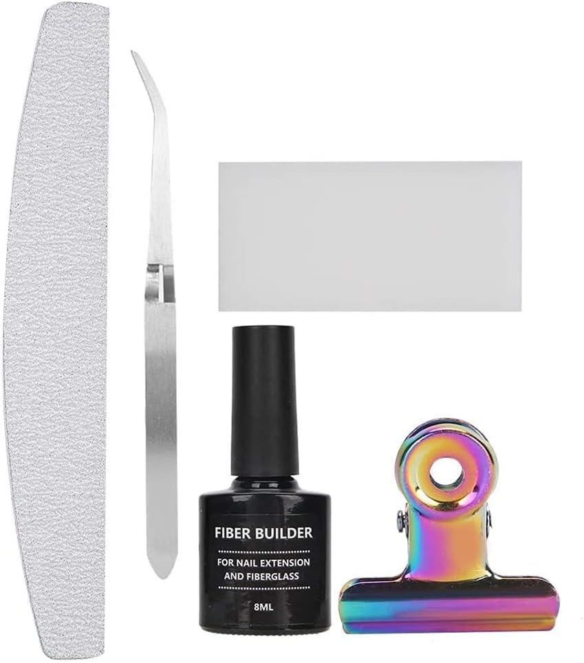 Kit de extensión de uñas, kit de herramientas de arte de uñas de fibra de vidrio extensión lima de uñas con pinzas y clip moldeado DIY Kit de herramientas de manicura