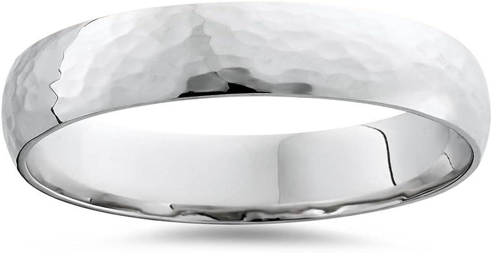 14K White Gold 4mm Hammered Wedding Band Ring New