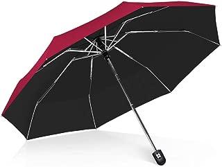 ZXAZBHD Fully Automatic Small Five-fold Pocket Rain Umbrella, Clear Rain Dual-use Black Glue Folding Mini Umbrella Outdoor, Travel (Color : Red)