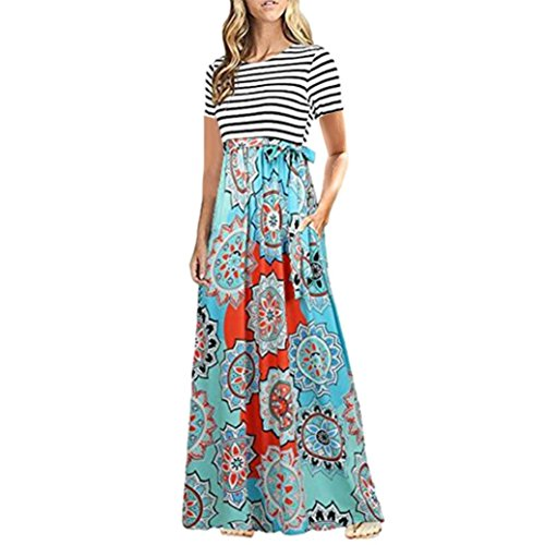 Damen Bodenlanges Kleid Jersey Maxikleid Sommer Boho Kurzarm Gestreift Blumen Party Strandkleidung Bandeau Cocktailkleid Urlaub Swing Kleider (M, Blau)