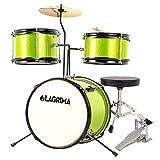 LAGRIMA 3 Piece Kids Drum Set with Adjustable Throne, Cymbal, Pedal & Drumsticks, Black
