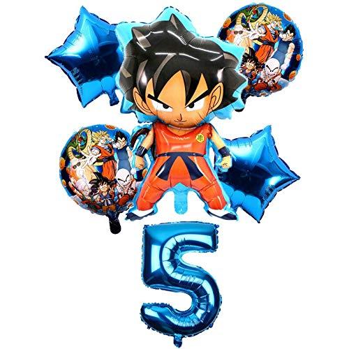 HCHD 6pcs / Set de Dibujos Animados Dragon Ball Goku Hoja hincha 32 Globo Número Pulgadas Conjunto Fiesta del Feliz cumpleaños Decoración Niños Campus Party Juguete (Color : Burgundy)