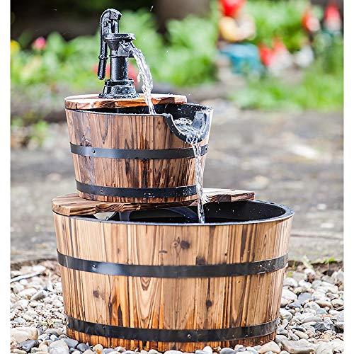 Heissner Gartenbrunnen Holzkübel mit Schwengelpumpe