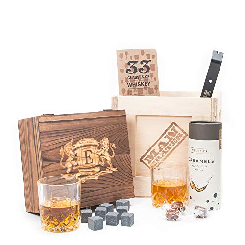 Personalized Scotch Connoisseur Crate by Man Crates – Includes Personalized Wooden Storage Box, 2 Crystal Tumbler Scotch Glasses, Single Malt Scotch Caramels & More – Drinking Gift For Men