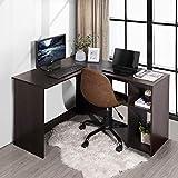 FurnitureR Escritorio en forma de L Escritorio de esquina con estantes, Estación de trabajo de computadora de madera para oficina en el hogar, Escritorio de computadora de ahorro de espacio con...