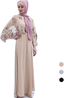 Long Sleeved Muslim Maxi Dress, Sequins Lace Women National Costume Robes with Festive Hijab Casual Abaya Party Dress (Color : Khaki, Size : M)