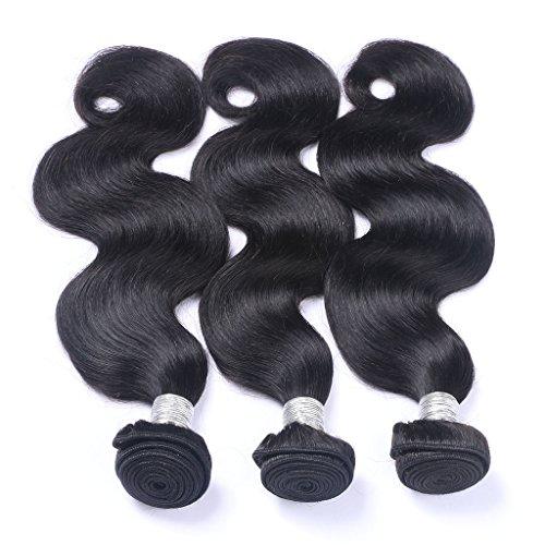 Corps Noir vague naturel 100 GG/Bundle Longueur 20,3 cm à 61 cm tissage 100% cheveux humains Extensions capillaires