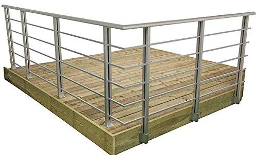 Geländer - Set aus Aluminium PAB 81 - Ergränzungspackung Bodenmontage
