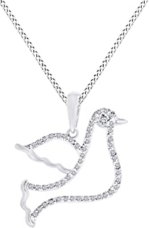 0.10 Ct Round Cut Natural Diamond Dove Pendant Necklace in 14K Gold Over Sterling Silver