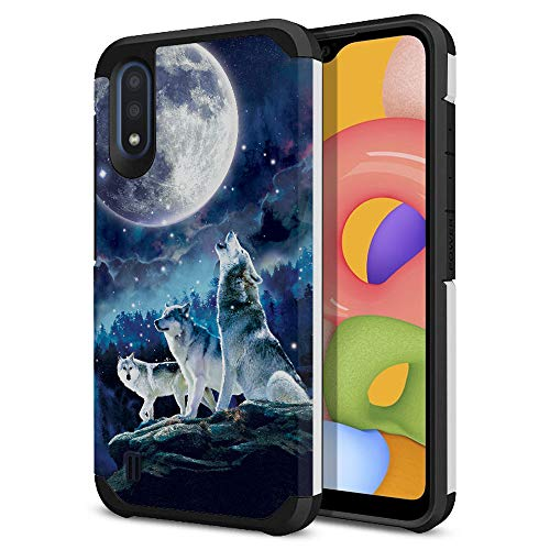FINCIBO Case Compatible with Samsung Galaxy A01 5.7 inch 2019, Dual Layer Hard Back Hybrid Protector Case Cover Anti Shock TPU for Galaxy A01 - Wolf Pack Moon